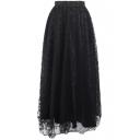 Plain Mesh Print A-Line Elastic Waist Skirt