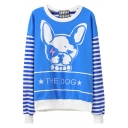 Blue Dog Letter Stripe Print Round Neck Sweatshirt
