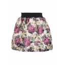 Wool Vintage Painting Floral Elastic Waist Skirt