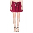 Snowflake Embroidered Elastic Waist Woolen Mini Skirt