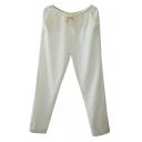 Plain Wide Leg Elastic Waist Line Crop Pants