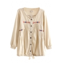 Beige Mori Girl Style Triangle Embroidered Cotton&line Blouse