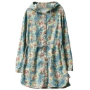 Fresh Rural Style Flora Print Vintage Hooded Drawstring Waist Coat