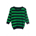 Stripe Print Round Neck Long Sleeve High Waist Fitted Sweater