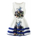 Flora Print Navy Stripe Embroidered White A-line Tanks Dress