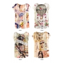 Lady Letter Print Round Neck Batwing Sleeve T-Shirt