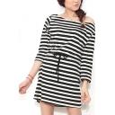 Stripe/Plain Boat Neck 3/4 Sleeve Gathered Waist Dress