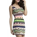 Sleeveless Round Neck Geometric Pattern Pencil Dress