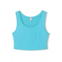 Crop Plain Sports Style Slim Tanks