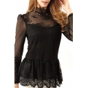Hot Black Lace Mesh Inserted High Neck Top with Peplum