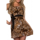 Leopard Belted Cutout Back Round Neck A-Line Dress