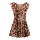 Short Sleeve Leopard Print A-line Dress