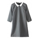 Vertical Stripes White Lapel Gray Office Lady Style Dress