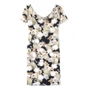 Black Background White Flower Print Short Sleeve Slim Dress