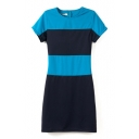 Short Sleeve Blue&Dark Blue Panel Geometry Style Slim Dress