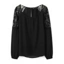 Black Lace Shoulder Long Sleeve Chiffon Blouse