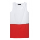 Color Block V-Neck Sleeveless Zip Dress