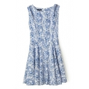 Porcelain Print Cutout Shoulder Ruffle Hem Dress