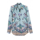 Cashews Print Lapel Long Sleeve Buttons Blouse