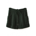 Dark Green Knitting Drawstring Shorts with Pockets