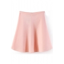 Pink Plain Ruffle Hem Full Skirt