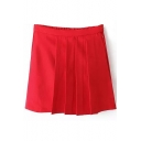 Red Plain Zip Fly Ruched Mini Skirt