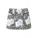 Floral Print Double Zip A-Line Mini Skirt