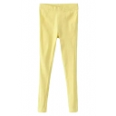 Yellow Plain Elastic Fitted Skinny Pants