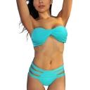 Blue Cutout Bikini Bottom Bandeau High Waist Bikini Set