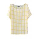 White Short Sleeve Plaid Print Chiffon T-Shirt