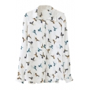 White Flying Bird Print Long Sleeve Chiffon Blouse