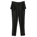 Elastic Ruffled Waist Pencil Pants