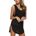 Black Round Neck Cutout Back Knit Cover-Up