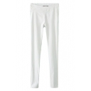 White Zipper Fly Elastic Casual Pencil Pants