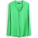 Green V-Neck Long Sleeve Button Top