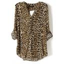 Leopard Print V-Neck Long Sleeve Blouse