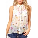Butterfly and Floral Print Sleeveless Sheer Dip Hem Top