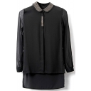 Black Rivet Collar Long Sleeve Dip Hem Shirt