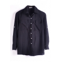 Black Double Pockets Front Chiffon Shirt