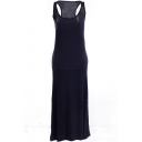 Dark Blue Modal Racerback Tanks Longline Dress