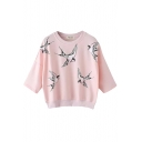 Pink Swallow Print Half Sleeve Sweatshirt