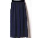 High  Elastic Waist Chiffon Maxi Skirt