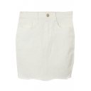 Black /White Bodycon Zipper Fly Skirt with Pockrts