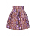 Purple Ethnic Style High Waist Pleated Skirt