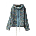 Mori Girl Hooded Unique Graffiti Zipper Fly Denim Coat