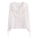 Ladylike Style Ruffled Layer Embellish White Shirt