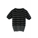 Graceful Striped Round Neck Short Sleeve Crop Sweater