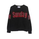 Plaid SUNDAY Applique Sweatshirt