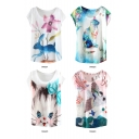 Letter Floral Animal Print Round Neck Short Sleeve T-Shirt