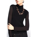 Black High Neck Mesh Inserted Long Sleeve Top